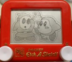 Shy Guy Waddle Dee etchasketch by pikajane