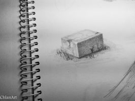 stone study - pencil drawing by Chlan