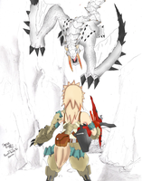 Kaname VS Barioth Colored by StrikeRougeMk2