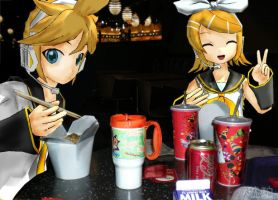 Vocaloid Disney Vacation: Pop Century Food Court by TheKohakuDragon