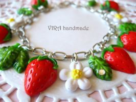 Cute strawberry charm bracelet by virahandmade