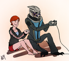 Commission: Ellie Shepard and Garrus by FlockofFlamingos