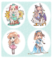 ::Watercolor:: Chibis by Atelier-Aka