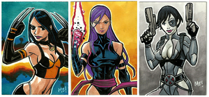 X-23, Psylocke and Domino Sketch cards by MasonEasley