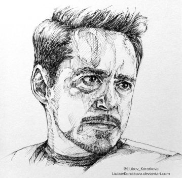 Iron man (Ink) by LiubovKorotkova