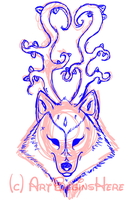 Wolf Deer Sketch by ArtBeginsHere