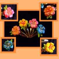 Tropical kanzashi and tutorial by EruwaedhielElleth