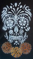 Sugar Skull Stencil on Tile by darcydoll