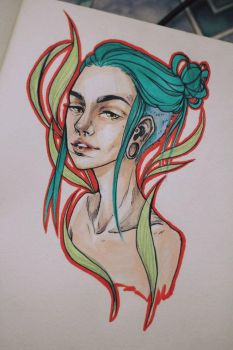 Copic marker sketch #2 by MotherOfAliens