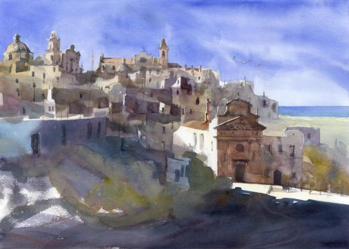 Ostuni Panorama, 51x71,5cm, 2015 by NiceMinD