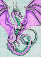 Purple and Pink Dragon ACEO by The-GoblinQueen