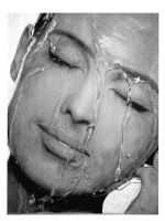 Water on Face - Pencil Drawing by arisirfani