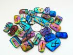Fused Dichroic Glass Rune Set by poisons-sanity