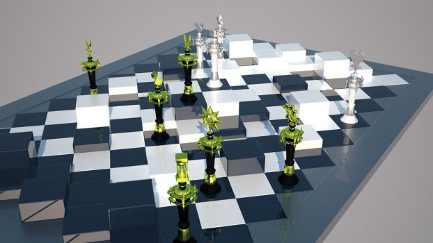 Kingdom Hearts 3 Chess Board + Pieces [4K Render] by Truthkey