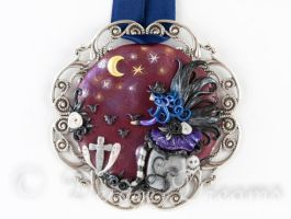 Rose, Keeper of the Night Goth Fairy Art Pendant by DeidreDreams