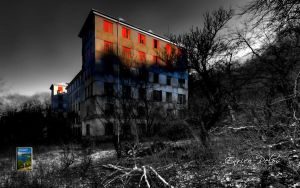 Abandoned creeping building in the wintery wood by EnricoPelos