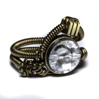 Steampunk ring Clear Crystal by CatherinetteRings