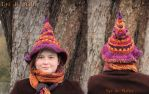 Fall colors Freeform witchy hat - for sale ! by MademoiselleOrtie
