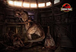 Epic Scene of Jurassic Park - T-rex vs. Raptor by tomzj1