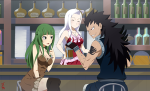 Commission - OC Kanna and Gajeel at the Bar by dannex009