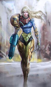 Samus battle damaged by longai