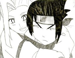 Ino and Sasuke by WatercatdragonMiu
