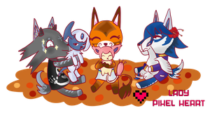 ACNL Villager Group Commission for RuddyKitty 2 by ladypixelheart