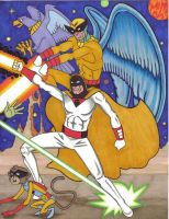 Birdman, Avenger, Space Ghost and Bleep by Zombean1138