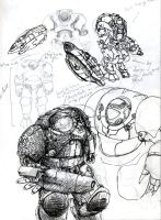 Armoured Suit sketches by Waaagh