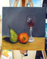 Glass of wine and ugly fruits by Kresli