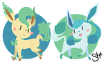 Glaceon and Leafeon by TinySkye