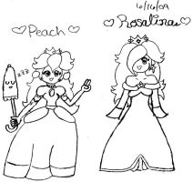 Peach and Rosalina by lil-mikoto