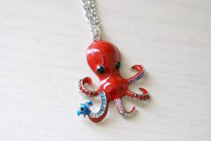 Funky Octopus Necklace - Red by foowahu-etsy