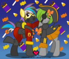 PyroTech and Mishap Nightmare Night by ladypixelheart
