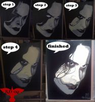 The crow painting in step's by roydraven777