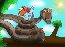 Kaa captures Rainbow Dash by Crafty-Cobra
