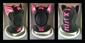 Hoodie Hat Stitches Hot Pink by MissRaptor