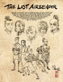 First Last Airbender Sketches by spacecoyote