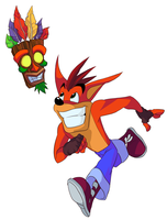 Crash and Aku Aku by tveye363
