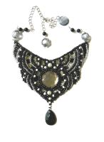black bib beaded necklace by AniDandelion