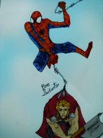 Spider-man and Thor : I'm can not fly. by BOSSTHITIWUT