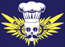 Cooking Skull - yellow and Blue by TedTonkin