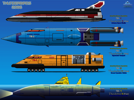 Thunderbirds 2086 TB-1, 2, 3, 4 side view by haryopanji