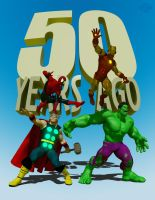 50 years of Thor, Hulk, Iron Man and Spidey by CWRudy