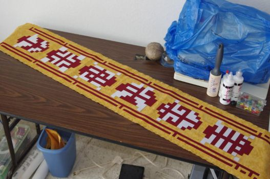 Red Journey scarf with custom symbols by ASGeek2012