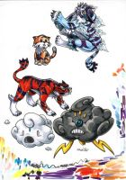 Fakemon Color Roughs 122-126 by TheCreationist