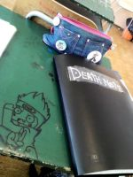 My desk in the school :D by Catharaa