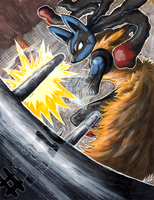 Mega Lucario - Super Training by matsuyama-takeshi