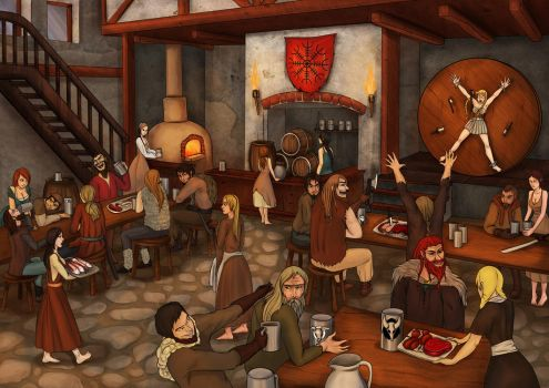 Viking feast by AnirBrokenear