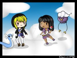 among the clouds with pokemon by PenguinEsk